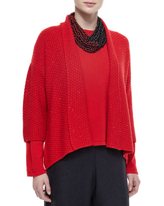 Three-Quarter-Sleeve Paillette Cardigan, Cashmere Round-Neck Sweater, ...