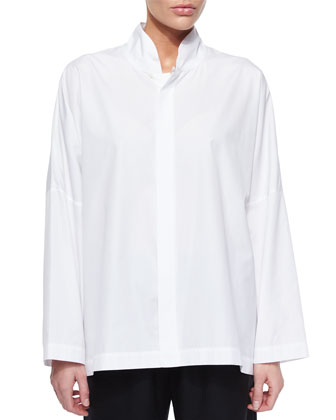 Poplin Stand Collar Shirt, White