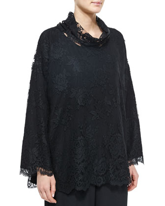 Floral-Lace Overlay Top