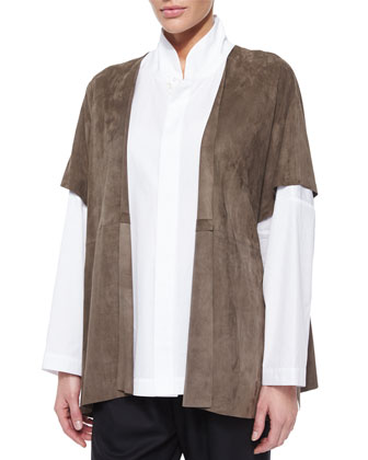 Raw-Edge Suede Tabard, Necklace, Double-Collar Cotton Poplin Blouse & ...