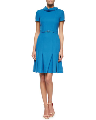Cowl-Neck Pleated Fit-and-Flare Dress