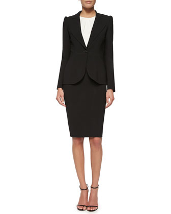 Peaked-Sleeve One-Button Blazer