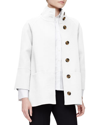 Double-Face Short Coat, White