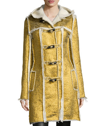Metallic-Foil Hooded Coat, Gold