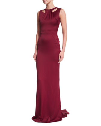 Sleeveless Cutout Satin Gown