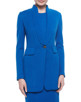 Mini Textural Knit Jacket, Tahoe Blue
