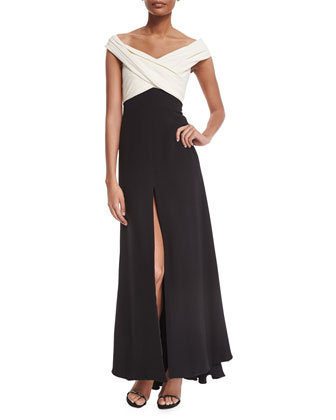 Off-The-Shoulder Crisscross Colorblock Gown