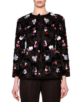 Floral Paillette Velvet Jacket & High-Waist Pleat-Front Pants