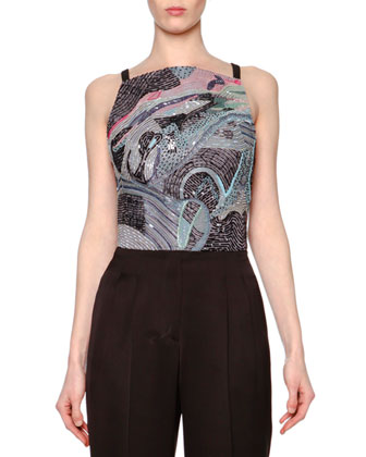 Chagall Beaded-Panel Crop Top