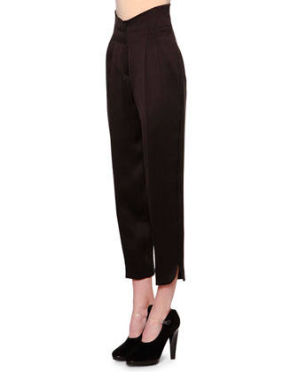 High-Waist Pleat-Front Pants