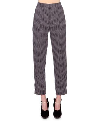 Geometric Jacquard Pants, Lavender/Gray