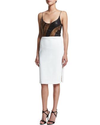 Sleeveless Embellished Combo Dress, Bronze/White