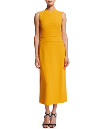 Sleeveless Banded-Bodice Midi Dress, Marigold