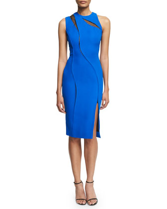 Sleeveless Sheath Dress W/Lace Inset, Blue/Black