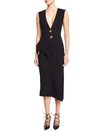 Sleeveless Asymmetric-Hem Sheath Dress, Navy