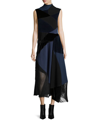 Sleeveless Patchwork Dress, Navy/Black