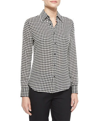 Long-Sleeve Houndstooth Chiffon Blouse, Black/Vanilla