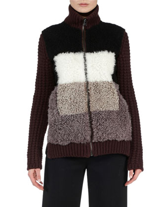 Patchwork Shearling Fur Contrast Jacket & Cropped Boot-Cut Pants
