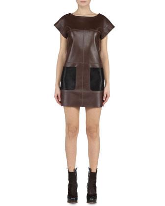 Fendi Leather Dress w/ Calf Hair Pockets