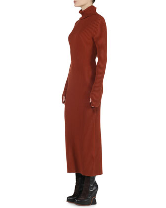 Cashmere Long-Sleeve Wide-Ribbed Dress, Rust