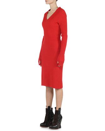 Reversible A-Line Fur Vest & Wide-Ribbed Cashmere Dress
