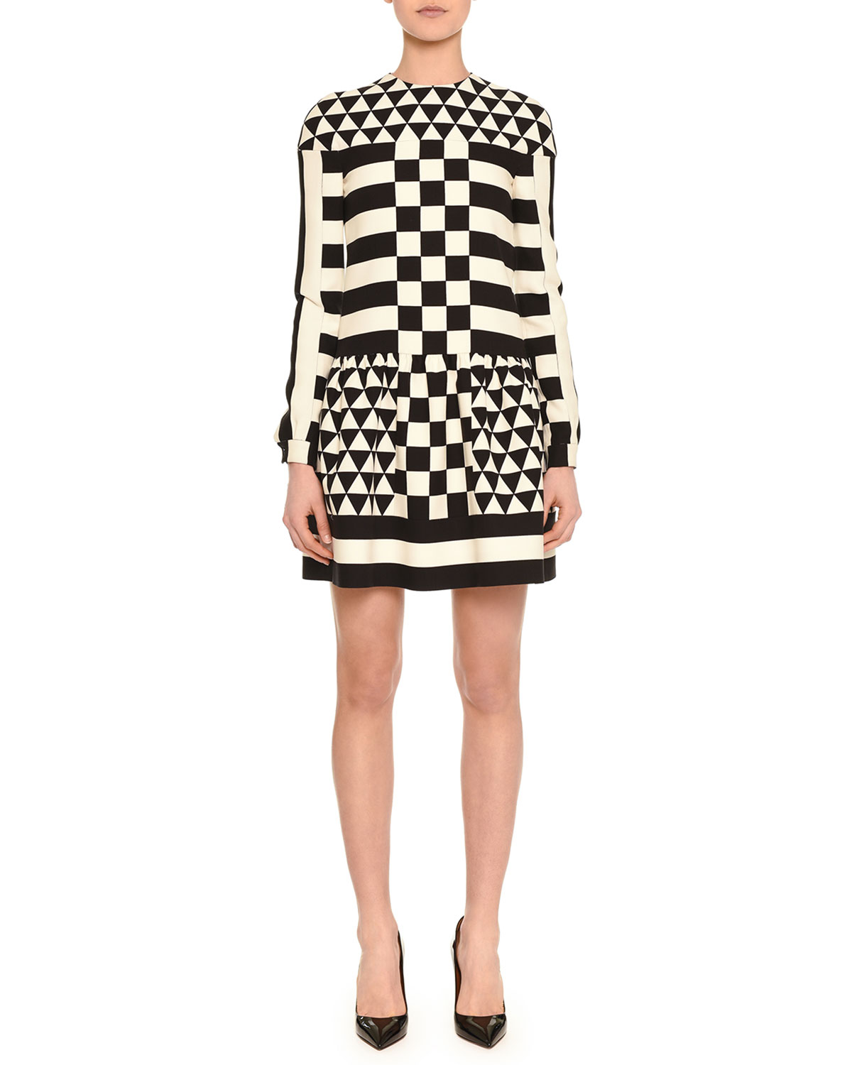 Long-Sleeve Jewel-Neck Geometric Squares Dress, Black/White, Size: 10 - Valentino