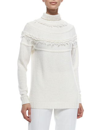 Cashmere-Blend Cable-Seamed Fringe Sweater