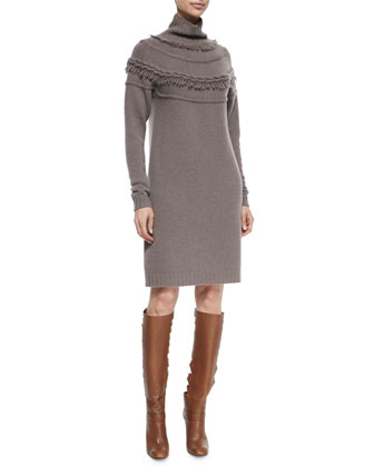 Cashmere-Blend Knit Cable-Seamed Fringe Sweaterdress