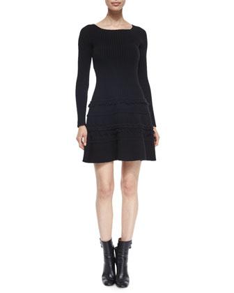 Cashmere-Blend Ribbed Fringe-Trimmed Sweaterdress