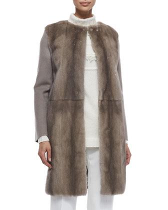Mink Fur & Cashmere Combo Coat, Cashmere-Blend Cable-Seamed Fringe Sweater ...