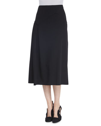Cashmere Ribbed Knit Turtleneck Sweater & Asymmetric Pleated Midi Skirt