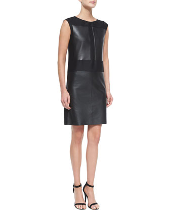 Leather & Wool/Silk Combo Sheath Dress