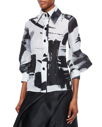 Half-Sleeve Haiku Brushstroke Blouse & Side-Draped Silk Ball Skirt