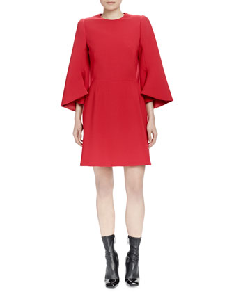 Vented Bell-Sleeve Seamed Dress