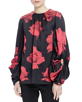 Floral-Print Oversized-Sleeve Blouse, Black/Red