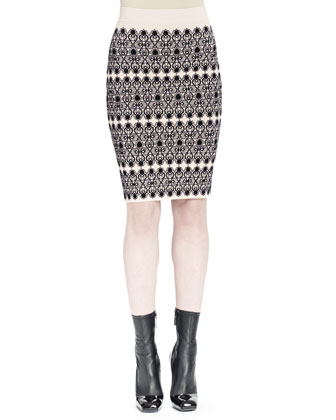 Long-Sleeve Ruched Knit Top & Lace Circle Jacquard Skirt