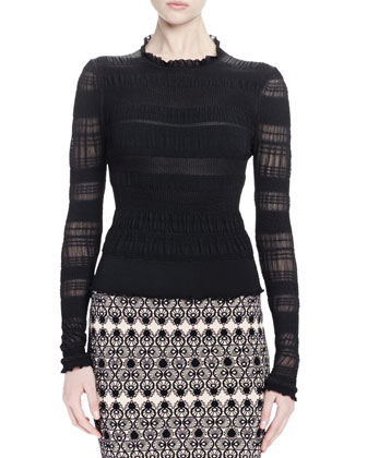 Long-Sleeve Ruched Knit Top, Black