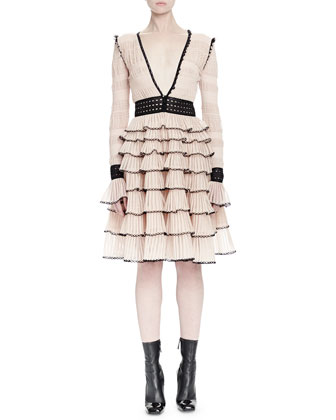Long-Sleeve Tiered-Ruffle Dress, Teint (Nude)/Black