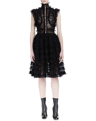 Sleeveless Lace-Ruffle Dress & Halter-Neckline Bra Top w/Lace