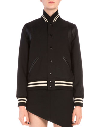 Striped-Trim Snap Teddy Jacket