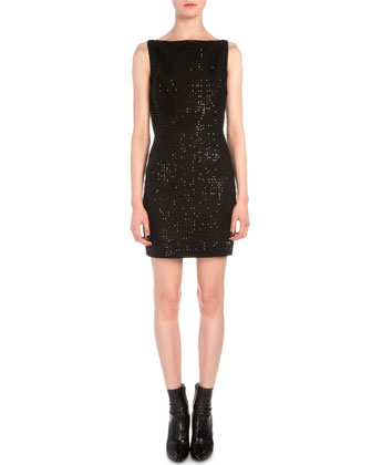 Grid Sequined Sheath Dress
