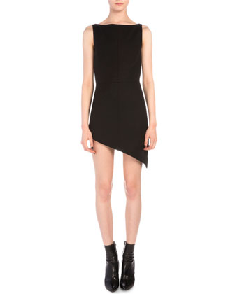 Asymmetric Boat-Neck Sheath Dress