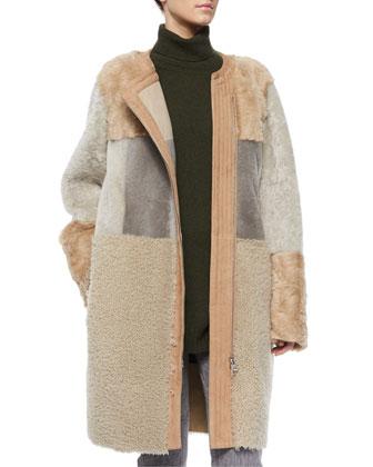 Patchwork Shearling Fur Car Coat
