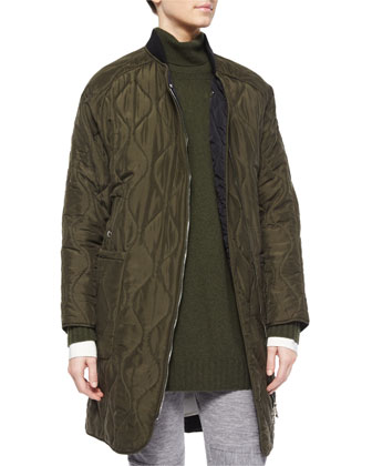 Onion-Quilted Zip Mid-Length Car Coat