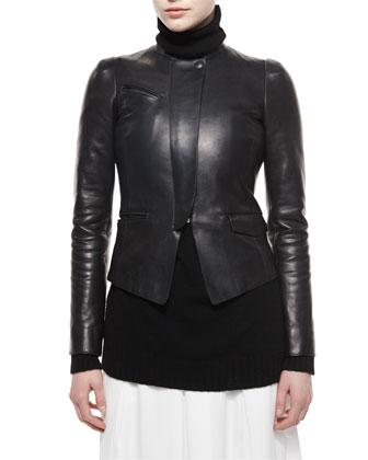 Leather Motorcycle Zip Jacket