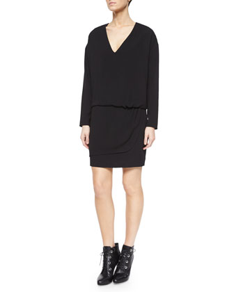Long-Sleeve Asymmetric Faux-Wrap Dress