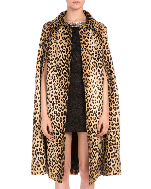 Leopard-Print Goat Hair Coat, Women's, Size: 34, Yellow/Black - Saint Laurent
