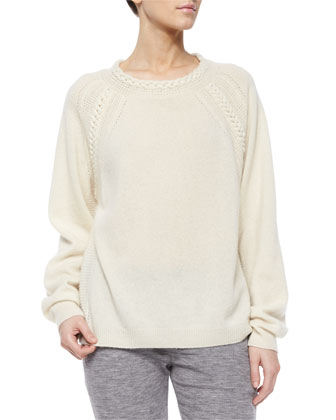 Cashmere-Blend Cable-Knit Detailed Sweater