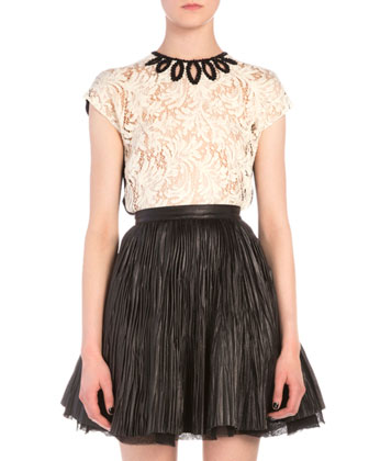 Marquise Cutout Embroidered Lace Top