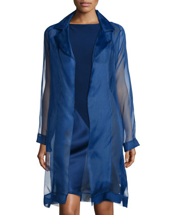 Organza Asymmetric Paneled Coat & Spiral Satin/Crepe Combo Dress